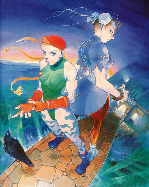 Here's a famous picture of Chun Li and Cammy on Cammy's bridge.